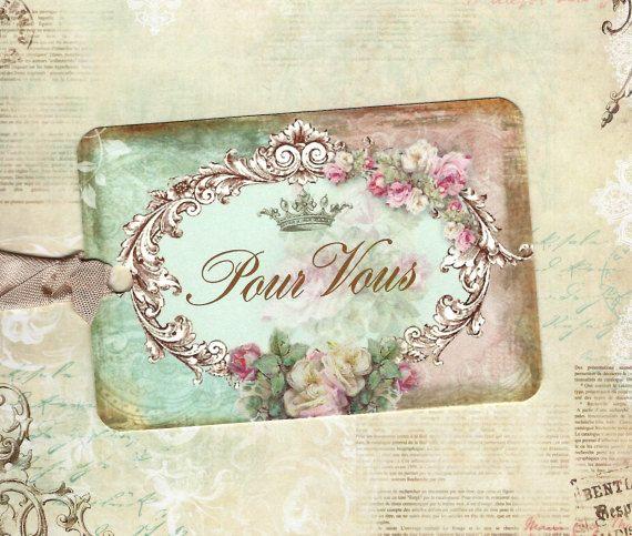 Gift Tags, Franse stijl, Pour Vous, voor u, verjaardag Tags, Roses