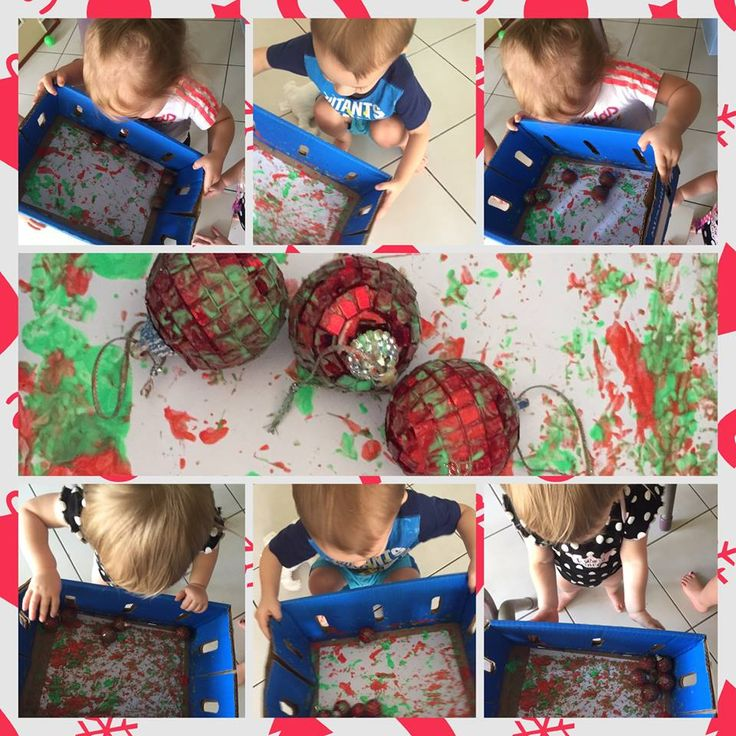 Painting with Christmas baubles