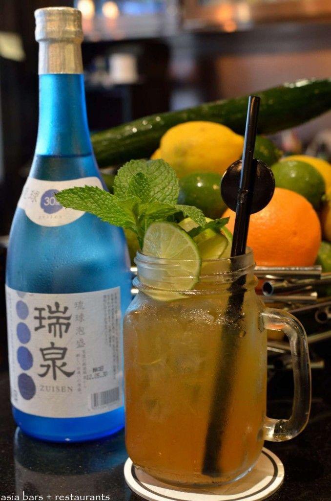 Okinawa Ice Tea- Awamori, Umeshu, Tiffin Tea Liqueur, Lemon & Oolong Tea.  http://www.asia-bars.com/2013/07/three-monkeys-a-modern-izakaya-restaurant-bar-in-hong-kong/