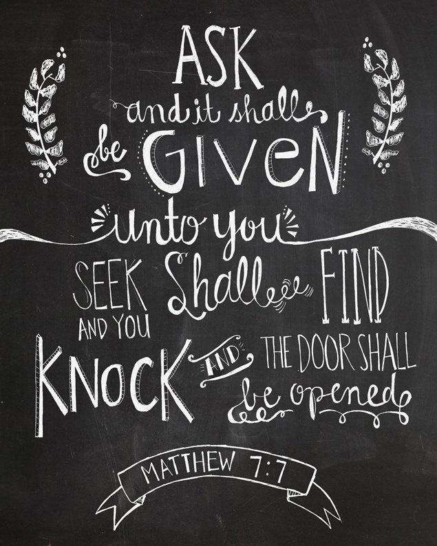Matthew 7:7 Bible verse chalkboard 8x10 print  hand drawn inspirational quote. via Etsy.