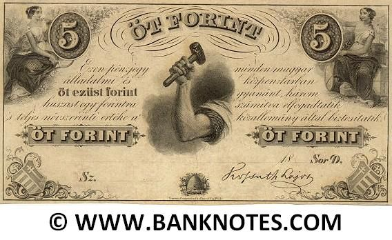 "Hungary 5 Forint (1852)  Front: Coats of Arms. Seated woman holding the denomination ""5"" and sickle. Another seated woman holding Rod of Asclepius or Caduceus and the ""5"" denomination. Arm holding a hammer. Beehive among flowers. Back: Blank (uniface). Predominant colour: Black. Signature: Kossuth Lajos. Printer: Toppan, Carpenter, Casilear & Co., Phila(delphia)."