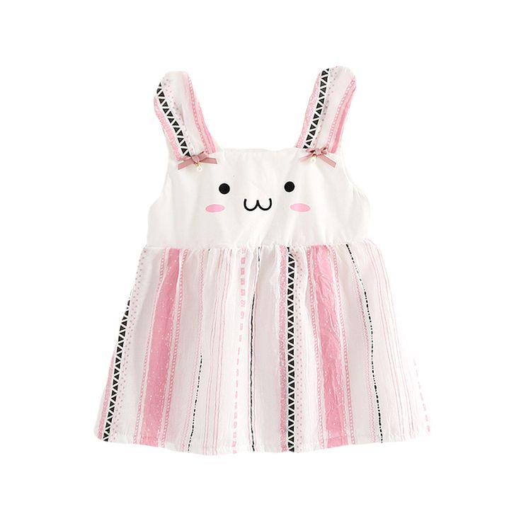 Adorable Rabbit Striped Sleeveless Dress For Infants And