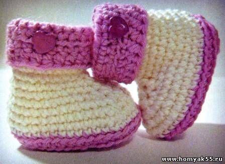 бело розовые пинетки