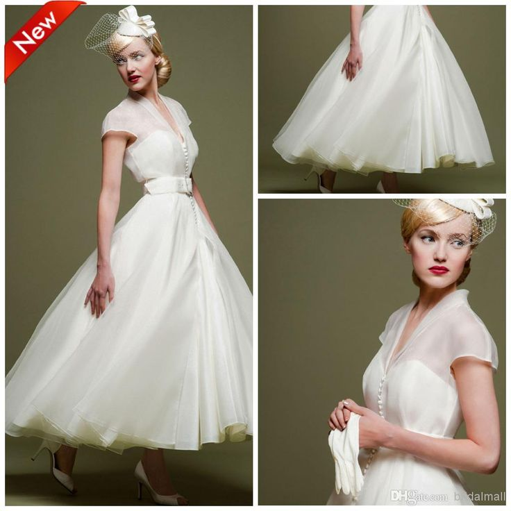 Cheap short wedding dresses 2015 v neck white organza for Ankle length wedding dress with sleeves