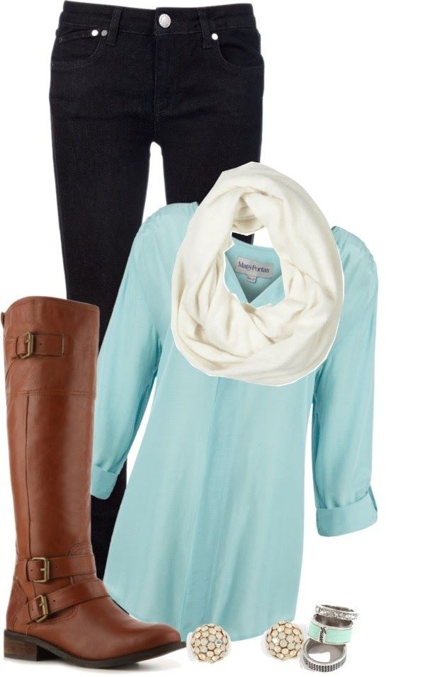 Black jeans, white scarf, blue shirt, long neck boots, ear tops and ear rings