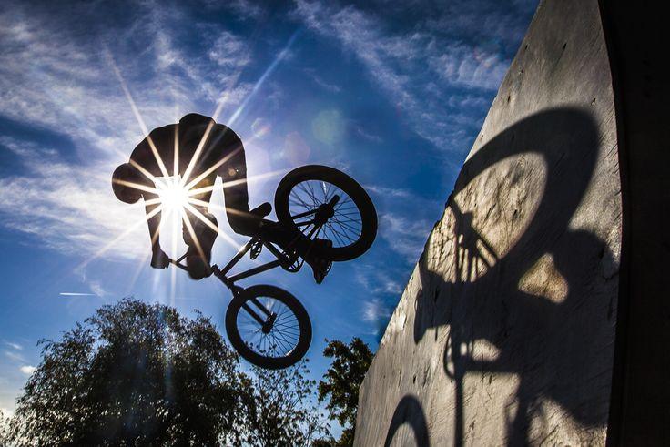 BMX rider having fun on a Half Pipe