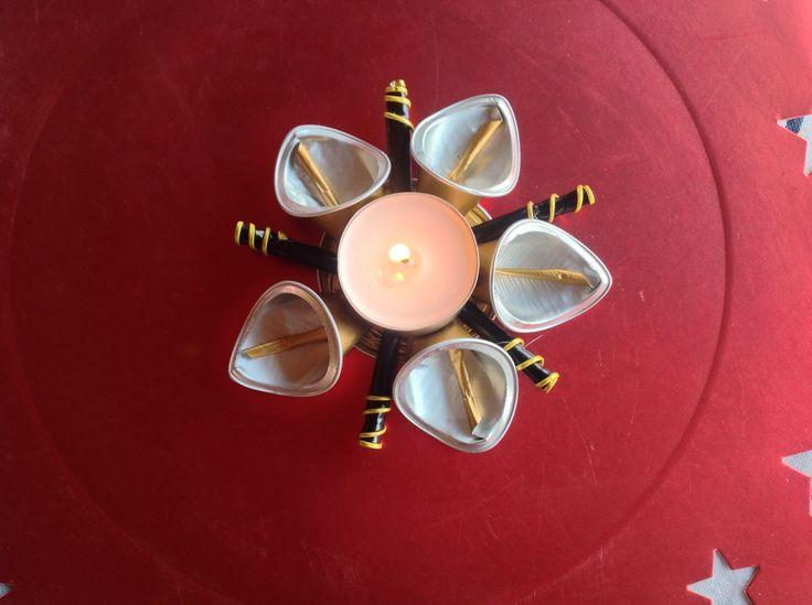 Etoile porte bougie chauffe plat d co de table capsules for Porte capsules nespresso mural