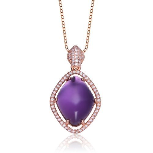 MSRP: $199.99    Our Price: $89.99    Savings: 110.00         Item Number: PEN5293 (73)    Availability: Usually Ships in 5 Business Days         Product Description:    A large bright purple cubic zirconia sits at the heart of this sterling silver pendant and features brilliant cubic zirconia in a beautiful halo design. This gorgeous piece is finished with a lustrous Rose Gold finish.         Features:      	Crafted in .925 Sterling Silver  	Bright Purple Center Stone  	Brilliant Round…