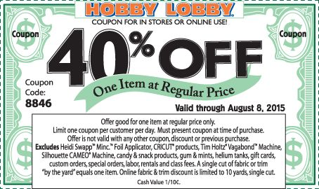 Pinned August 3rd: 40% off a single item at Hobby #Lobby or online via promo code 8846 #coupon via The #Coupons App