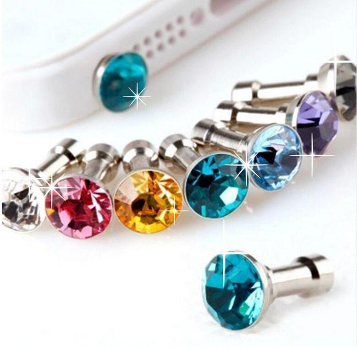 (20 Pcs)Crystal Diamond Anti Dust Earphone Plug Cap Any iPhone Samsung Sony HTC | eBay