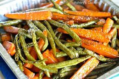 Ashley's Cooking Adventures: Honey Balsamic Glazed Roasted Carrots and Green Beans (Gluten Free)