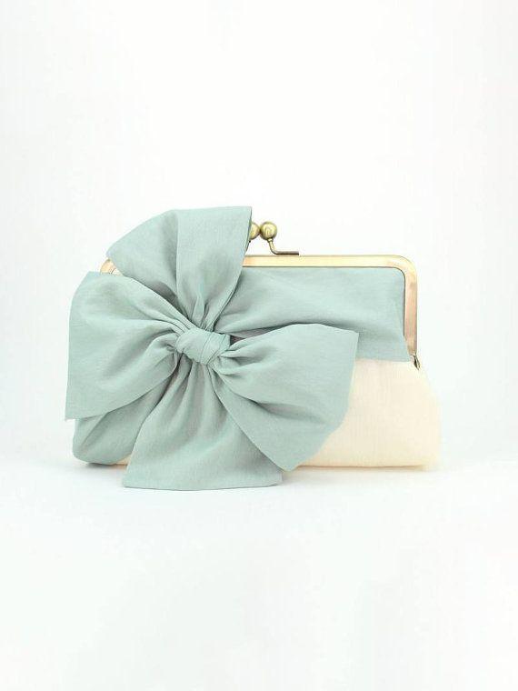 Minze-Kupplung | Brautjungfer Kupplung | Braut Handtasche | Hochzeit Kupplung [klassischen Bow Clutch: Mint auf Elfenbein]