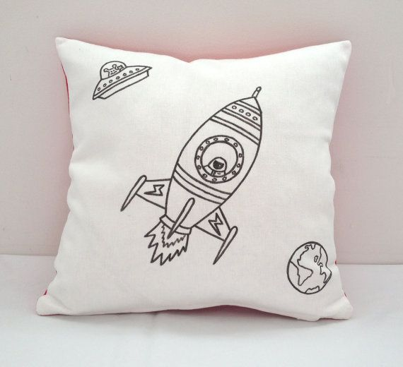 Colouring In Spaceship Design Cushion Cover | Kids Hand Drawn Black