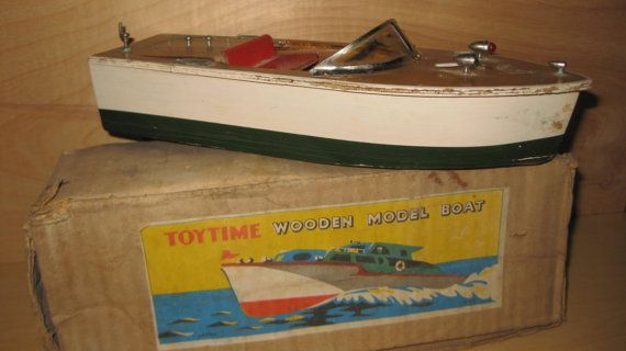 Vintage 1950's Wooden Model Boat Japan Original Box collectible ON SALE