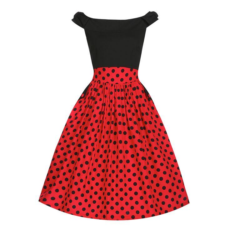 Retro šaty Lindy Bop Carla Black Red Polka Šaty ve stylu 50. let. Krásné šaty, které si Vás získají svou jedinečností, můžete je využít na svatby, oslavy, krásné letní dny či jen tak pro radost. Skvěle padnoucí černý živůtek s mírně spadlými rameny a červená sukně s černým puntíkem v áčkovém střihu. Boční kapsy zdobené légou a knoflíkem, součástí černý úzký pásek, kryté zapínání v bočním švu. Materiál - živůtek 60% viskóza, 35% polyester, 5% elastan, sukně 97% bavlna, 3% elastan, podšívka…