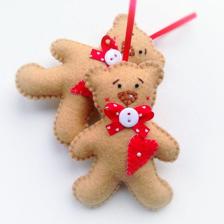 Hand stitched Felt Teddy Ornament