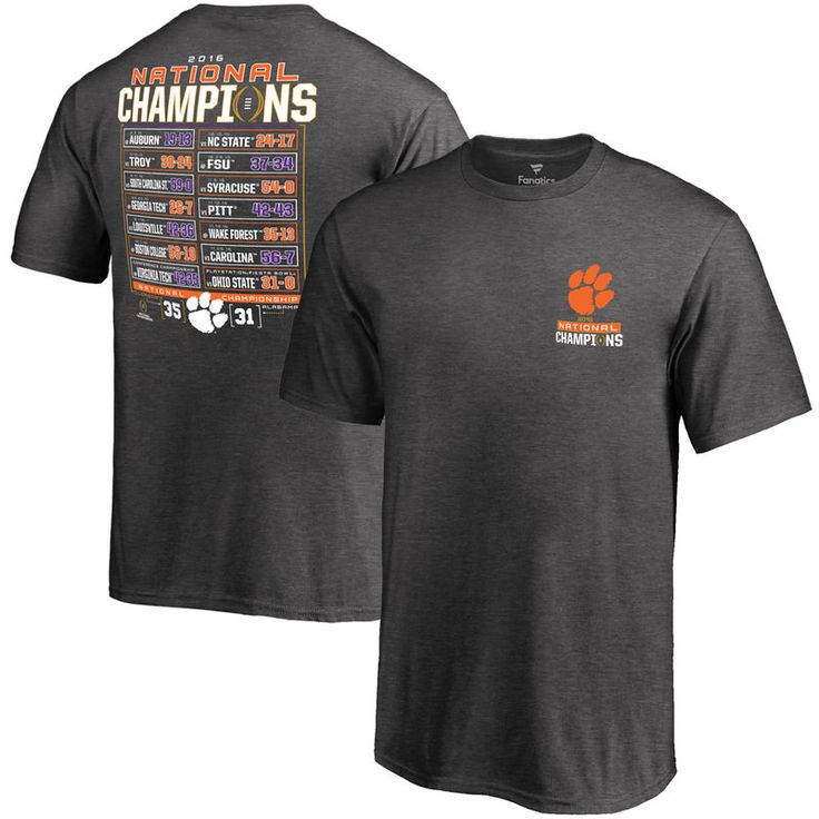Clemson Tigers Fanatics Branded Youth College Football Playoff 2016 National Champions Schedule T-Shirt - Charcoal