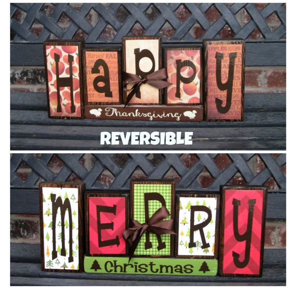 Reversible Christmas and Thanksgiving wood blocks-Happy Thanksgiving reverses with Merry Christmas