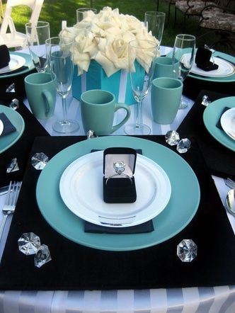 Breakfast at Tiffany's - black & blue, diamonds on table, centerpiece                                                                                                                                                                                 More