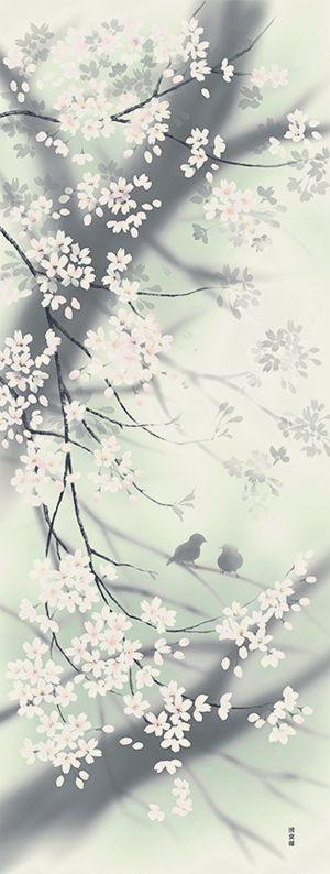 絵てぬぐい 花霞と小鳥|●アイテム・用途で選ぶ,絵てぬぐい,絵てぬぐい|てぬぐいの濱文様ネットショップ