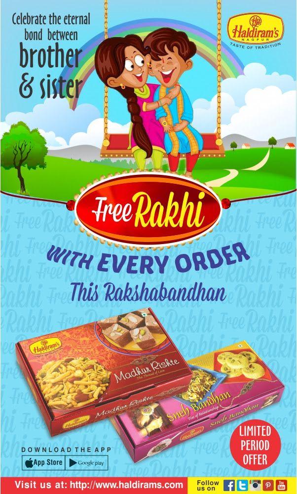 Let's celebrate your #RakhiSpecial with #Haldirams. Get free Rakhi with every order on this #RakshaBandhan