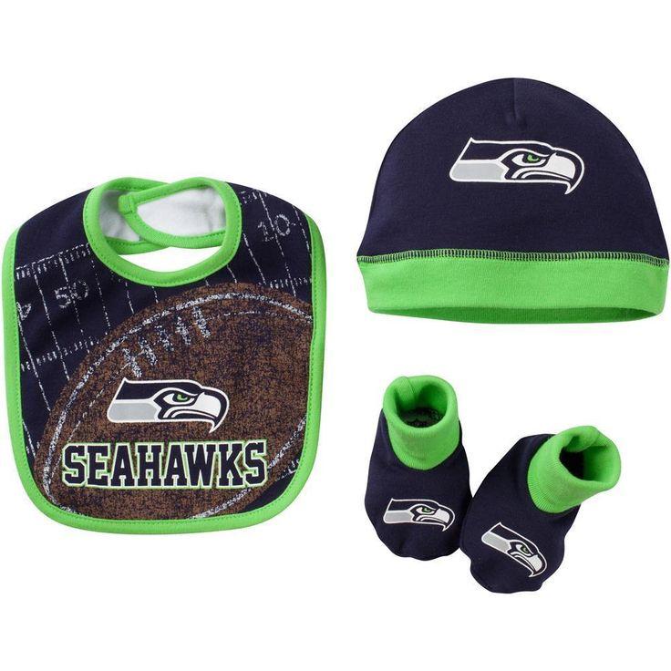 NFL Seattle Seahawks Beanie/Cap, Bootie & Bib Set, 0-6 Months, Navy #gerber