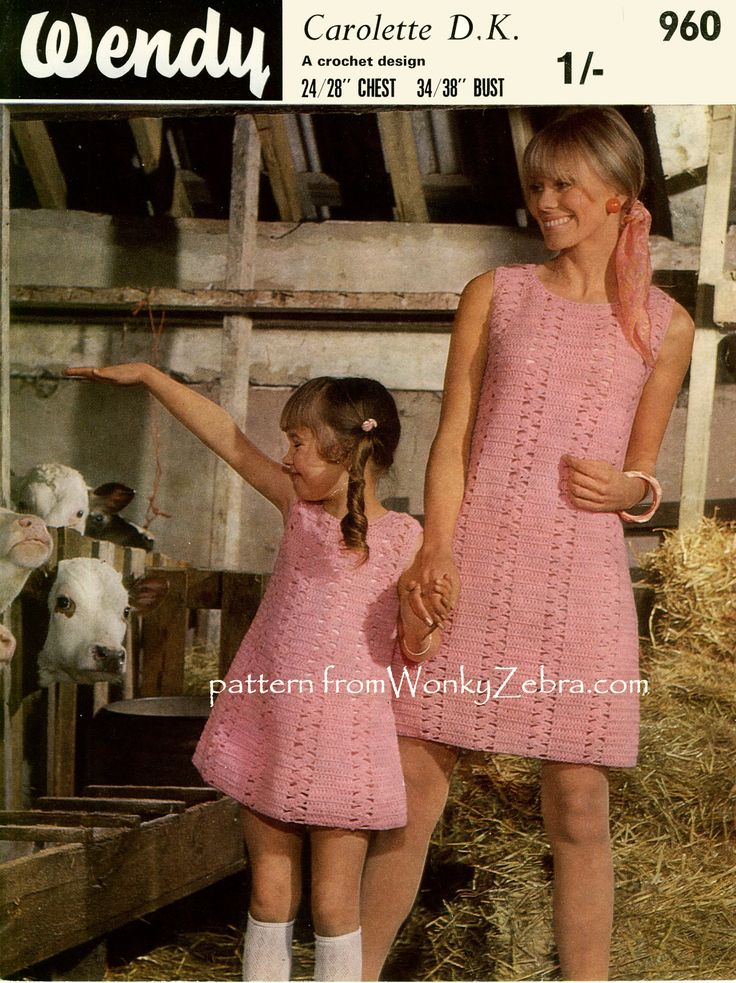 "WZ655 Mother Daughter dresses from ""Wendy"" ; a seventies take on WZ078  Sirdar mini dress. Slightly longer and less ""flirty"" but similar clever shaping in the lace/plain panels."