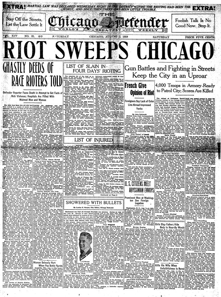 The Chicago race-riots of 1919 were sparked by the drowning of a black teenager named Eugene Williams on July 27 of that summer. Williams was swimming in Lake Michigan and crossed the unofficial racial barrier that separated the black and white beachgoers. In retaliation, a group of white men threw stones at Williams until he …