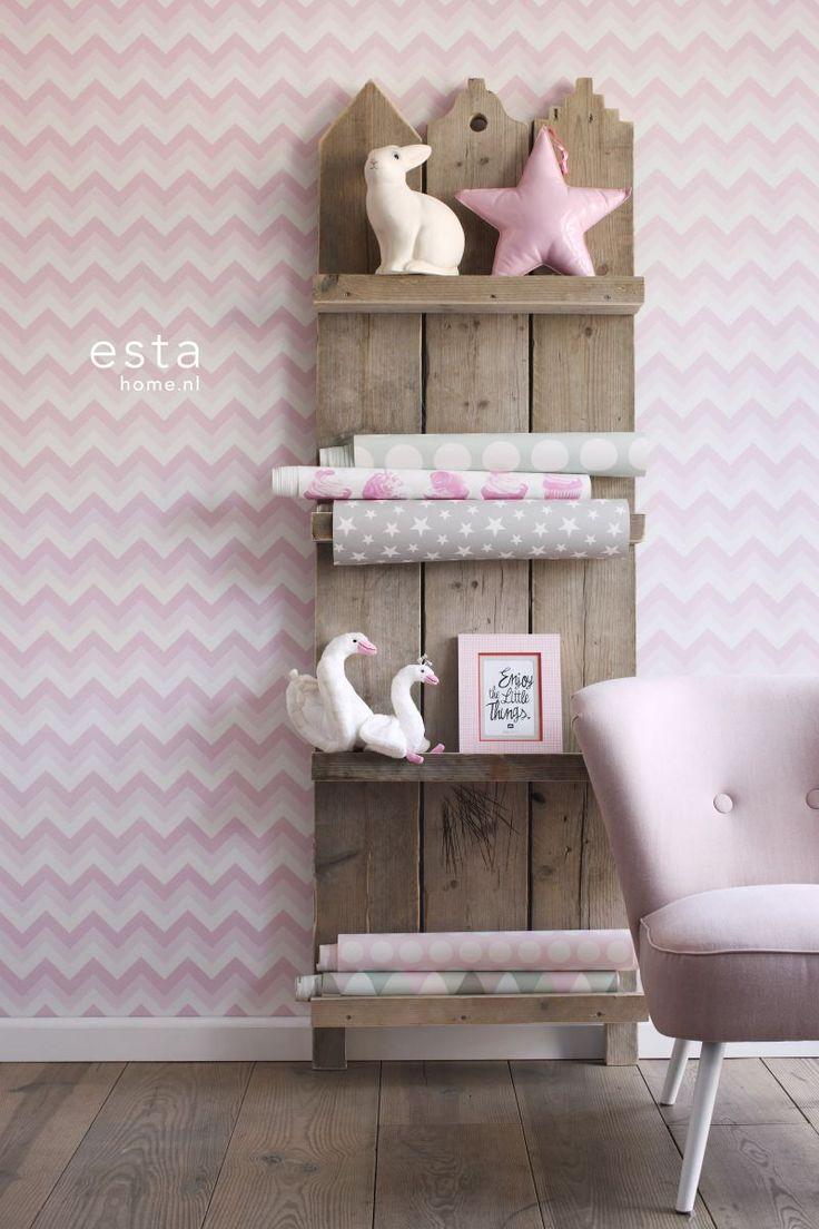 ESTAhome.nl - maak je huis gezellig! Non-Woven wallpaper zigzag soft pink & white behang, fotobehang, gordijnstof en dekbedovertrekken