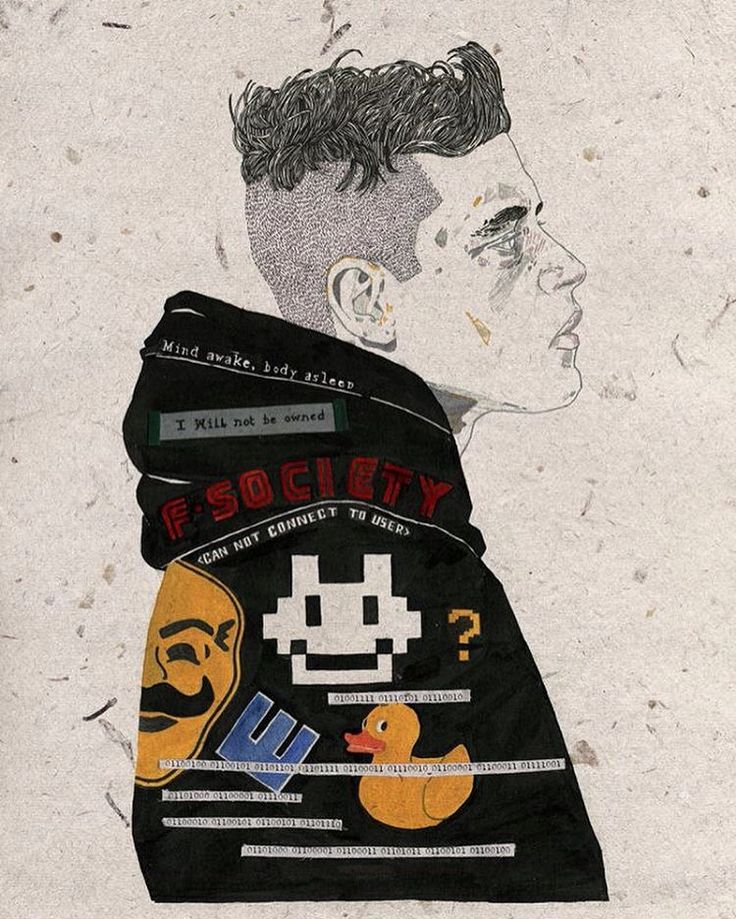 """-Mr Robot - """" That what we perceive isn't the real world at all, but just our mind's best guess? That all we really have is a garbled reality, a fuzzy picture we will never truly make out?"""" #mrrobot #illustration #ramimalek #inktober"""