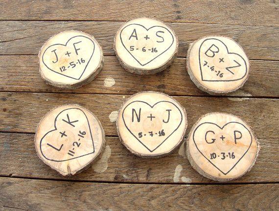 50 Wood Magnet Favors   Wood Slices Magnet Favors  Save The