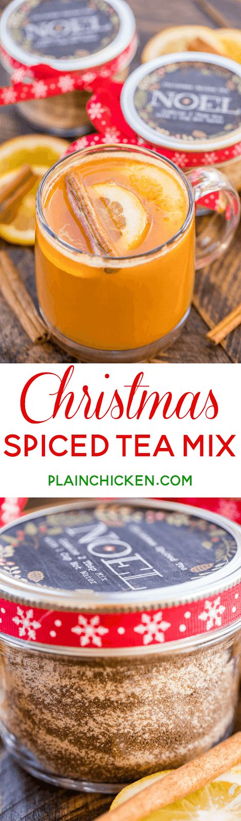 Christmas Spiced Tea Mix - wonderful holiday gift! This stuff tastes like Christmas in a cup - sweet, citrusy and spicy. We LOVE this stuff. If you want to kick it up, add a shot of fireball whiskey. Perfect holiday hot toddy! Tang, Lemonade mix, iced tea mix, sugar and pumpkin pie spice. So easy and it tastes terrific! A MUST for your holiday!!! #spicedtea #homemadegift #christmas