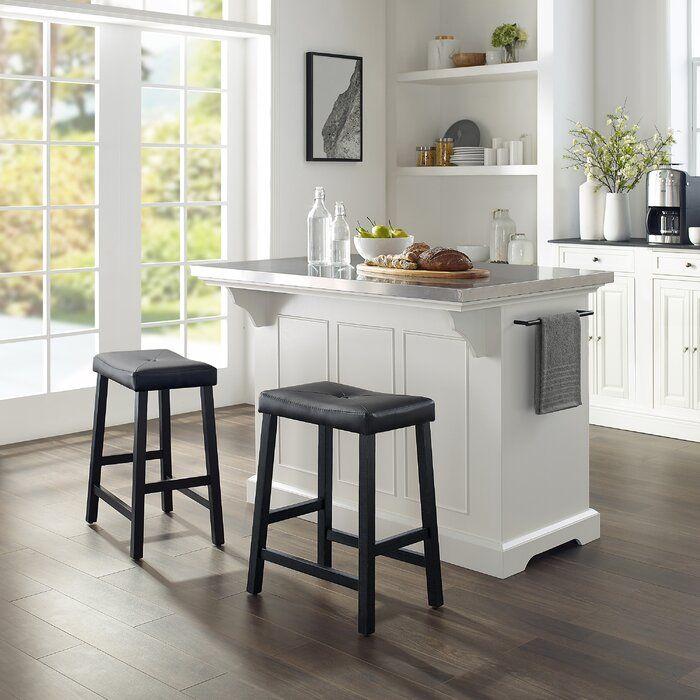 Gael Kitchen Island Set With Stainless Steel Kitchen Island With