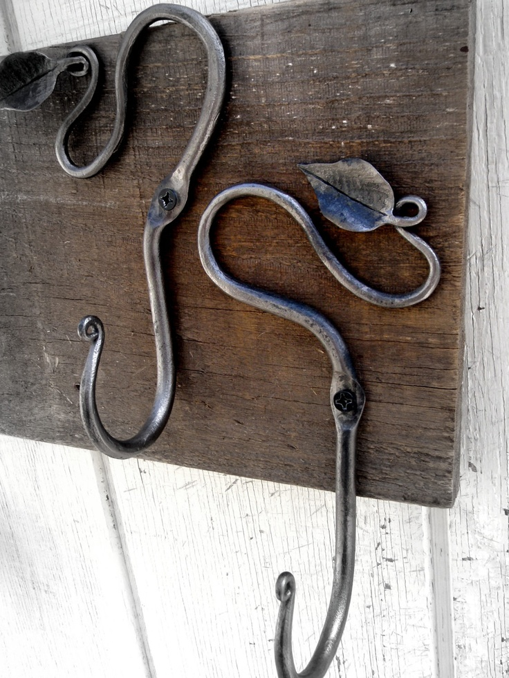 Blacksmith Hand Forged Vine And Leaf Decorative Coat Hooks, Wall Hooks   Rustic  Wrought