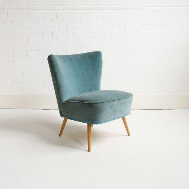 1950s teal velvet cocktail chair