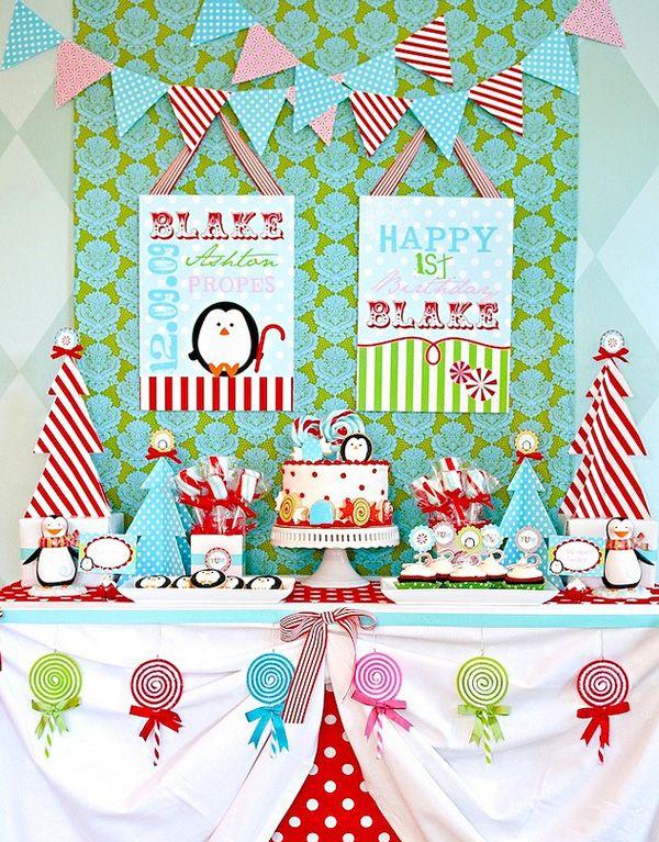 wintercandylandWinter Parties, Christmas Parties, Birthday Parties, 1St Birthday, Winter Candyland, Penguins, Parties Ideas, Winter Birthday, Birthday Ideas