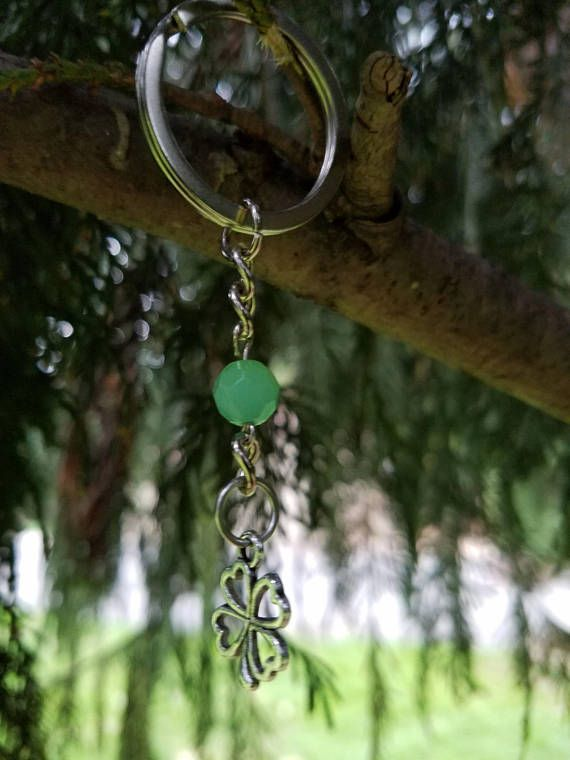 This Green Jade Shamrock Keychain would be a great St. Patrick Day Gift. Did you know that Green Jade is known as the Abundance stone? Here is a piece of trivia for you. It is believed in Chinese tradition that Green Jade symbolized the five virtues of humanity, which are courage,