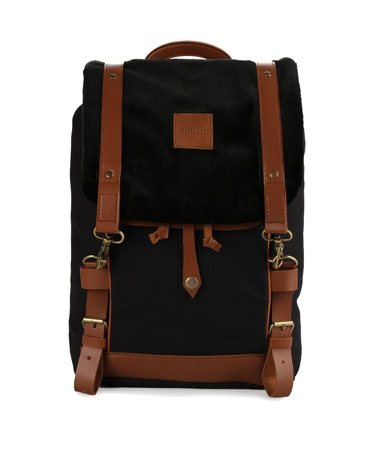 Jimmy Backpack by Smith. Backpack with black and brown color, made from polyester, lobster clasp fastening, adjustable  strap. This backpack can carry your thing everywhere, perfect backpack for school or for a weekend gate away. http://www.zocko.com/z/JHQhb
