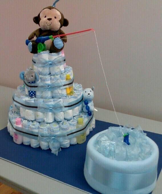 Fishing Theme Diaper Cake I made :)