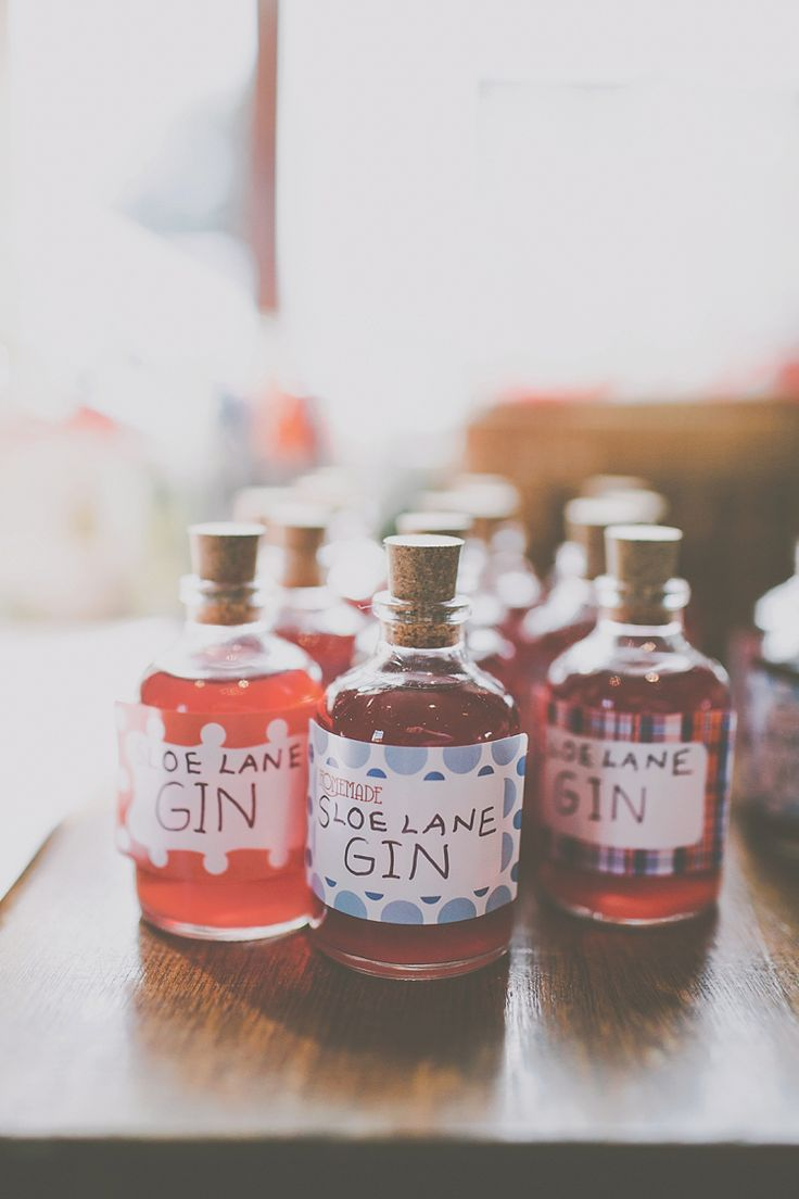 Gin Bottle Favours Crafty Colourful Village Hall Wedding Http Jamesmelia