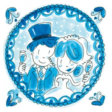 Delftsblauwe kaart met een bruidspaar erop- Greetz