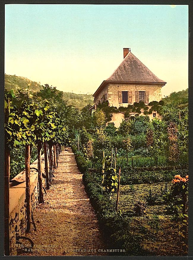 House of Jean-Jacques Rousseau, Les Charmettes, in Chambéry, France, ca. 1895, a photochrom by Detroit Publishing Co., via Library of Congress.