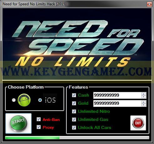 Are you looking for Need for Speed No Limits Hack? If the answer is YES, you've got in the right zone. In this article I'll show you how to Unlock All Cars, how to get Unlimited Nitro, Gas; and how to add as many Cash and Gold you want with Need for Speed No Limits Hack Tool for NFS No Limits game.