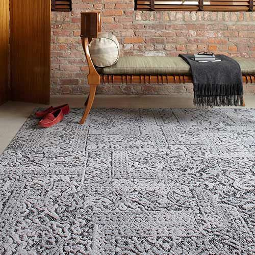 Chenille Charade FLOR carpet tiles in gray