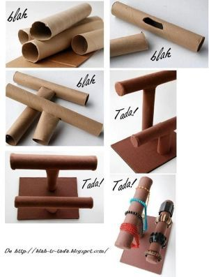 I WOULD ADD DUCT TAPE FOR MORE STABILITY. COVER IN CUTE FABRIC.diy braclets   DIY Paper Roll Jewelry Display DIY Paper Roll Jewelry Display by ...