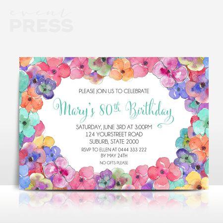 Floral Birthday Invitation   Event Press