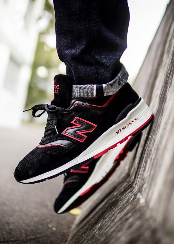 sports shoes b5569 32ad6 ... New Balance 997  Black Red ...