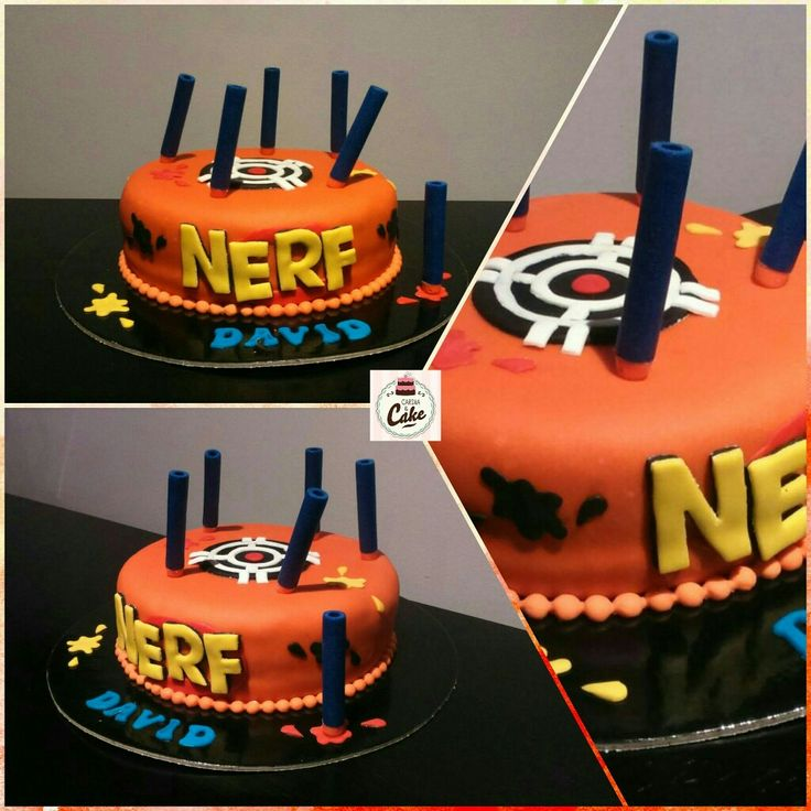 "Bolo ""NERF"", para o David que fez 5 anos. Bolo de iogurte com recheio de curd de morango. #carinaecake #nerf #nerfcake #cakedesigner #bolosdecorados #bday #bolinhosamedida #happybirthday #happybday #lovely #welcomefriends"