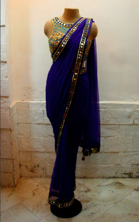 love the rich navy and encrusted choli!