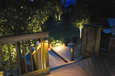 Outdoor lighting highlights the beauty of your deck and keeps stairways safe. Kichler Lighting http://www.poolspaoutdoor.com/blog/entryid/55/5-areas-to-improve-with-outdoor-lighting.aspx